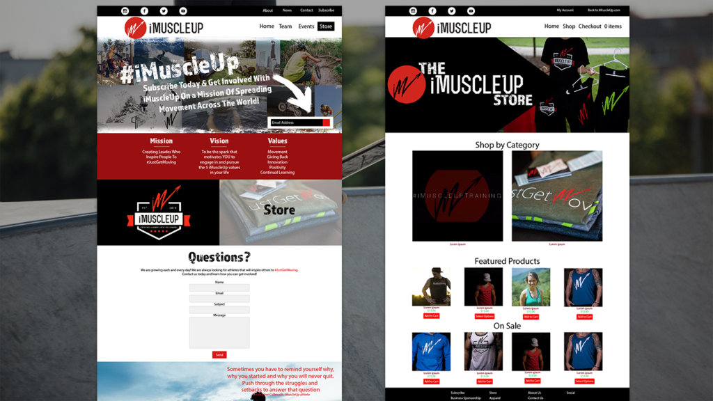imuscleup.com website layout