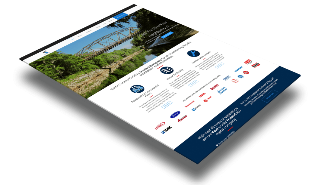akins heating and air home page layout