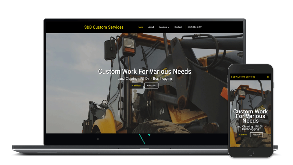 s&b custom services website on mobile