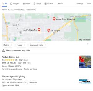 google search of ocala sign companies