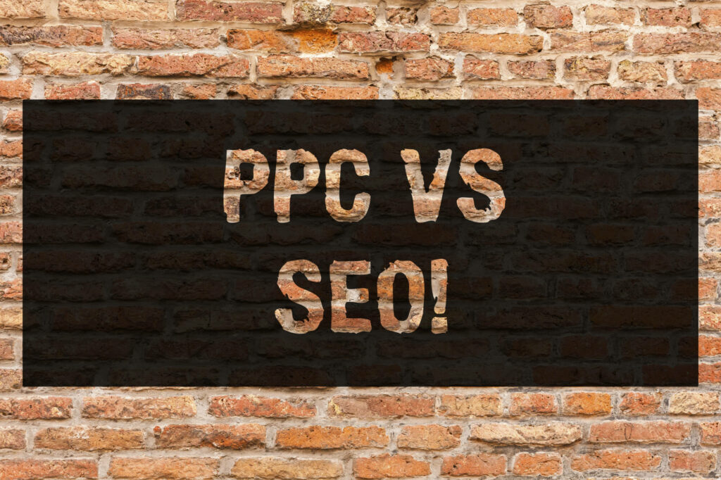 writing note showing ppc vs seo